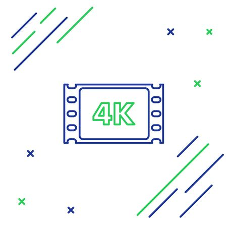 Blue and green line 4k movie, tape, frame icon isolated on white background. Colorful outline concept. Vector Illustration