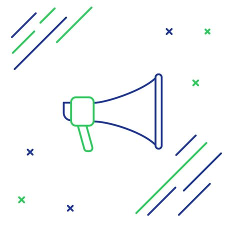 Blue and green line Megaphone icon isolated on white background. Speaker sign. Colorful outline concept. Vector Illustration