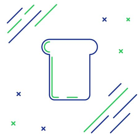 Blue and green line Bread toast for sandwich piece of roasted crouton icon isolated on white background. Lunch, dinner, breakfast snack. Colorful outline concept. Vector Illustration