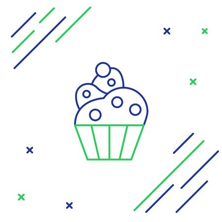 Blue and green line Cupcake icon isolated on white background. Colorful outline concept. Vector Illustration