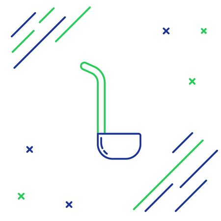 Blue and green line Kitchen ladle icon isolated on white background. Cooking utensil. Cutlery spoon sign. Colorful outline concept. Vector Illustration