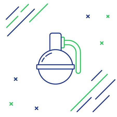 Blue and green line Hand grenade icon isolated on white background. Bomb explosion. Colorful outline concept. Vector Illustration