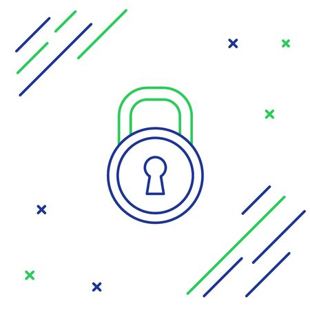 Blue and green line Lock icon isolated on white background. Padlock sign. Security, safety, protection, privacy concept. Colorful outline concept. Vector Illustration
