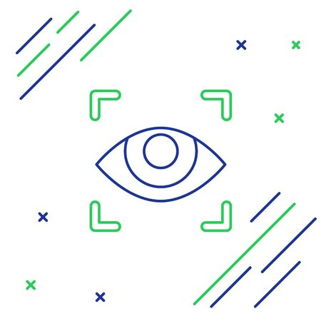 Blue and green line Eye scan icon isolated on white background. Scanning eye. Security check symbol. Cyber eye sign. Colorful outline concept. Vector Illustration