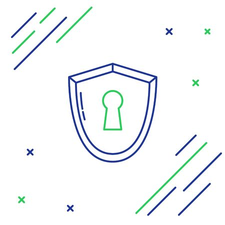 Blue and green line Shield with keyhole icon isolated on white background. Protection, security concept. Safety badge icon. Privacy banner. Defense tag. Colorful outline concept. Vector Illustration