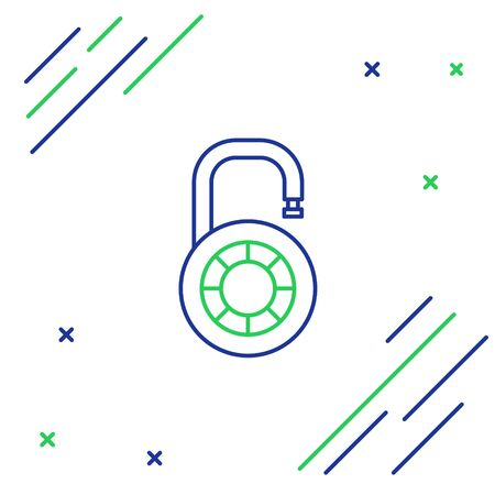 Blue and green line Safe combination lock wheel icon isolated on white background. Combination padlock. Security, safety, protection, password, privacy. Colorful outline concept. Vector Illustration Illusztráció