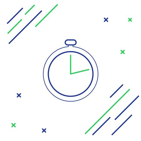 Blue and green line Stopwatch icon isolated on white background. Time timer sign. Colorful outline concept. Vector Illustration Illustration