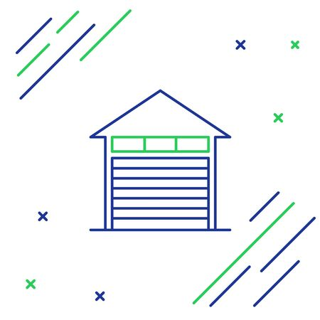 Blue and green line Closed warehouse icon isolated on white background. Colorful outline concept. Vector Illustration Ilustração