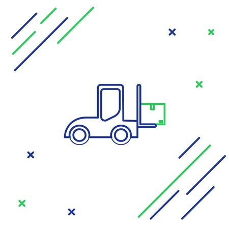 Blue and green line Forklift truck icon isolated on white background. Fork loader and cardboard box. Cargo delivery, shipping, transportation. Colorful outline concept. Vector Illustration