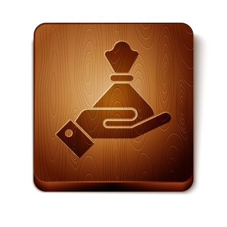 Brown Hand holding money bag icon isolated on white background. Dollar or USD symbol. Cash Banking currency sign. Wooden square button. Vector Illustration Çizim