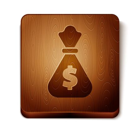 Brown Money bag icon isolated on white background. Dollar or USD symbol. Cash Banking currency sign. Wooden square button. Vector Illustration