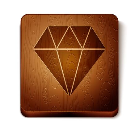 Brown Diamond icon isolated on white background. Jewelry symbol. Gem stone. Wooden square button. Vector Illustration