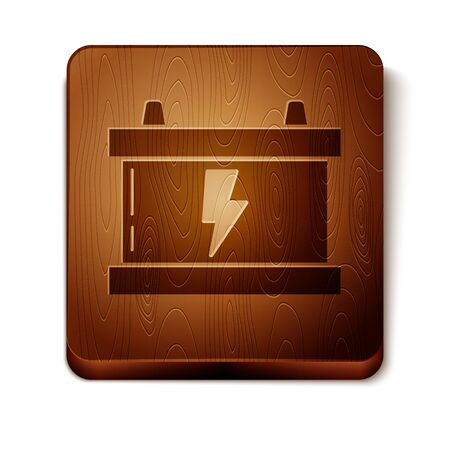 Brown Car battery icon isolated on white background. Accumulator battery energy power and electricity accumulator battery. Lightning bolt. Wooden square button. Vector Illustration Иллюстрация