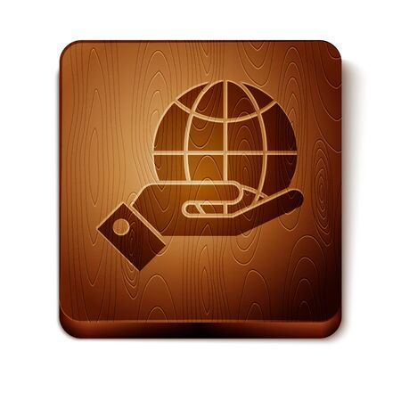Brown Human hands holding Earth globe icon isolated on white background. Save earth concept. Wooden square button. Vector Illustration