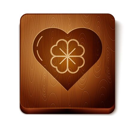 Brown Heart with four leaf clover icon isolated on white background. Happy Saint Patrick day. Wooden square button. Vector Illustration Illustration