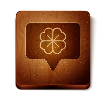 Brown Four leaf clover in speech bubble icon isolated on white background. Happy Saint Patrick day. Wooden square button. Vector Illustration