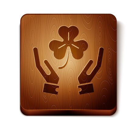 Brown Human hands holding four leaf clover icon isolated on white background. Happy Saint Patrick day. Wooden square button. Vector Illustration
