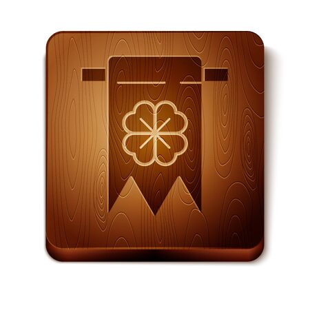 Brown Four leaf clover icon isolated on white background. Party pennant for birthday celebration, festival. Happy Saint Patrick day. Wooden square button. Vector Illustration