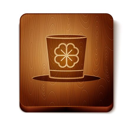 Brown Leprechaun hat and four leaf clover icon isolated on white background. Happy Saint Patricks day. Wooden square button. Vector Illustration