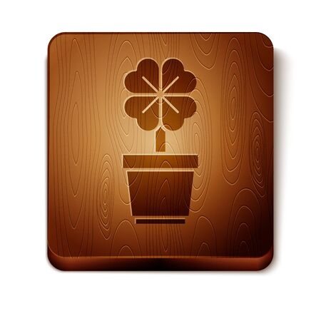 Brown Four leaf clover in pot icon isolated on white background. Happy Saint Patrick day. Wooden square button. Vector Illustration