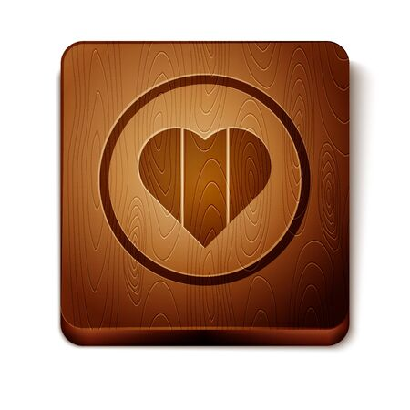 Brown Heart icon isolated on white background. Happy Saint Patrick day. Wooden square button. Vector Illustration Illustration