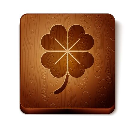 Brown Four leaf clover icon isolated on white background. Happy Saint Patrick day. Wooden square button. Vector Illustration
