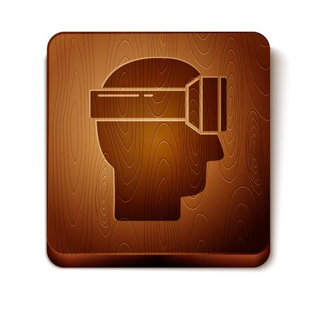 Brown Virtual reality glasses icon isolated on white background. Stereoscopic 3d vr mask. Wooden square button. Vector Illustration