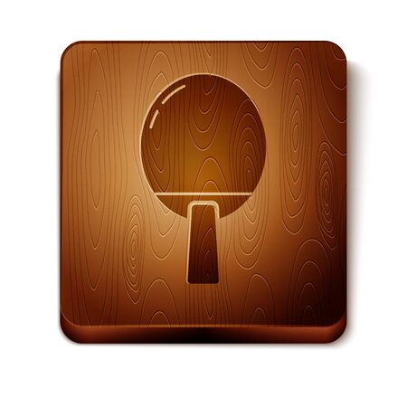 Brown Racket for playing table tennis icon isolated on white background. Wooden square button. Vector Illustration