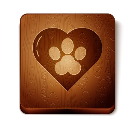 Brown Heart with animals footprint icon isolated on white background. Pet paw in heart. Love to the animals. Wooden square button. Vector Illustration Foto de archivo - 134864363