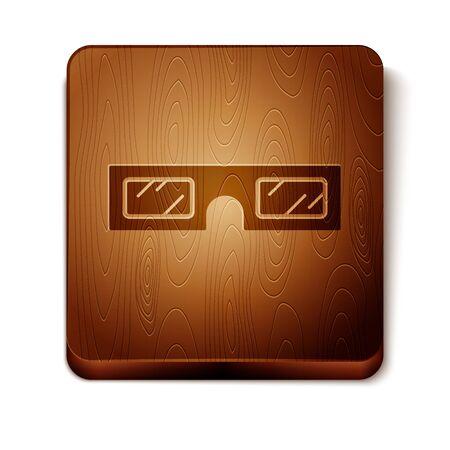 Icône de lunettes de cinéma 3D marron isolé sur fond blanc. Bouton carré en bois. Illustration vectorielle