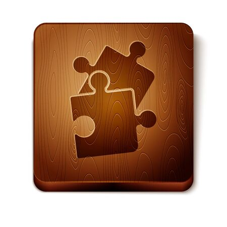 Brown Piece of puzzle icon isolated on white background. Business, marketing, finance, template, layout, infographics, internet concept. Wooden square button. Vector Illustration