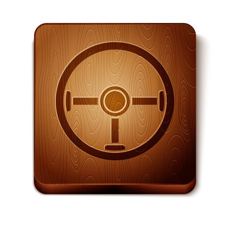 Brown Steering wheel icon isolated on white background. Car wheel icon. Wooden square button. Vector Illustration Illustration
