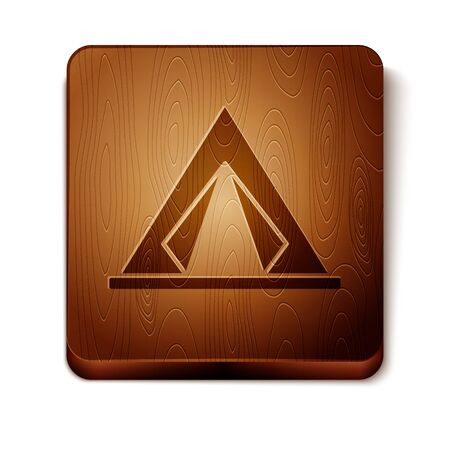 Brown Tourist tent icon isolated on white background. Camping symbol. Wooden square button. Vector Illustration