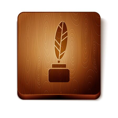 Brown Feather and inkwell icon isolated on white background. Wooden square button. Vector Illustration Ilustracja