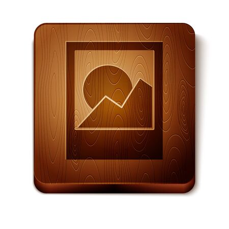 Brown Photo frames icon isolated on white background. Wooden square button. Vector Illustration Foto de archivo - 134864927