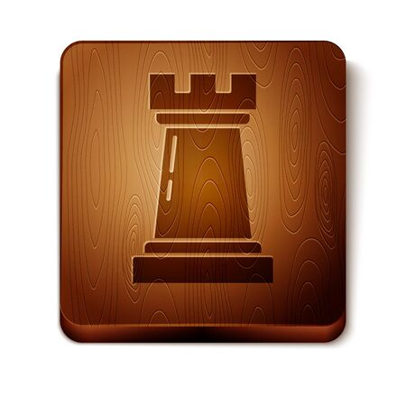 Brown Business strategy icon isolated on white background. Chess symbol. Game, management, finance. Wooden square button. Vector Illustration Illustration