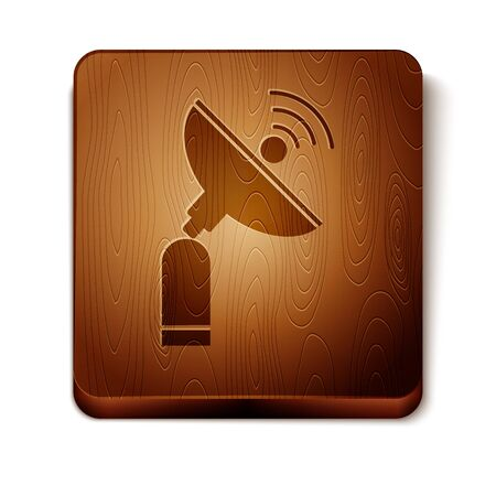Brown Radar icon isolated on white background. Search system. Satellite sign. Wooden square button. Vector Illustration