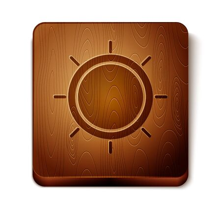 Brown Sun icon isolated on white background. Wooden square button. Vector Illustration
