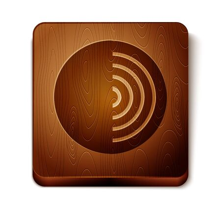 Brown Earth structure icon isolated on white background. Geophysics concept with earth core and section layers earth. Wooden square button. Vector Illustration