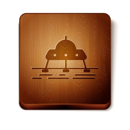 Brown Mars vehicle icon isolated on white background. Space vehicle. Moonwalker sign. Apparatus for studying planets surface. Wooden square button. Vector Illustration Illusztráció