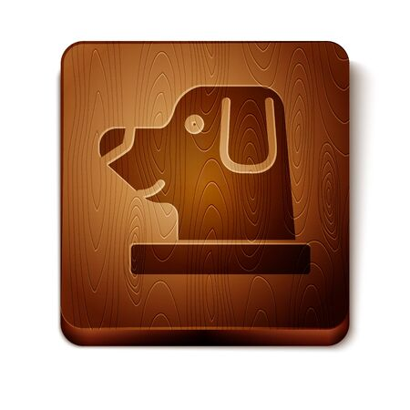 Brown Dog in astronaut helmet icon isolated on white background. Wooden square button. Vector Illustration
