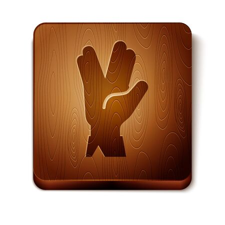 Brown Vulcan salute icon isolated on white background. Hand with vulcan greet. Spock symbol. Wooden square button. Vector Illustration Illusztráció