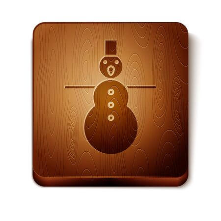 Brown Christmas snowman icon isolated on white background. Merry Christmas and Happy New Year. Wooden square button. Vector Illustration