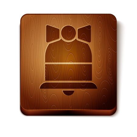 Brown Merry Christmas ringing bell icon isolated on white background. Alarm symbol, service bell, handbell sign, notification symbol. Wooden square button. Vector Illustration