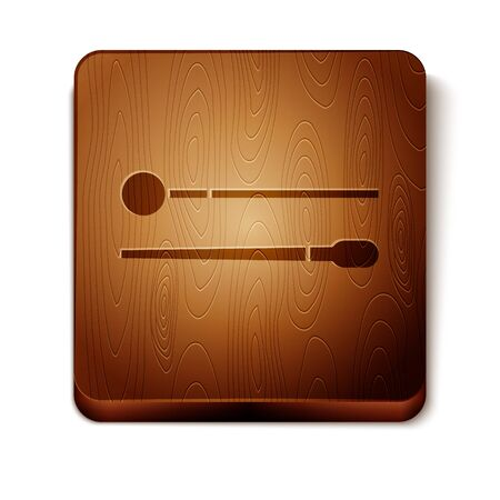 Brown Drum sticks icon isolated on white background. Musical instrument. Wooden square button. Vector Illustration