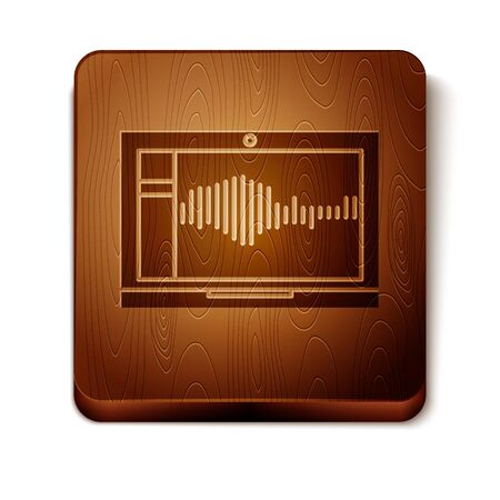 Brown Sound or audio recorder or editor software on laptop icon isolated on white background. Wooden square button. Vector Illustration