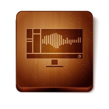 Brown Sound or audio recorder or editor software on computer monitor icon isolated on white background. Wooden square button. Vector Illustration Illustration