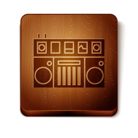 Brown DJ remote for playing and mixing music icon isolated on white background. DJ mixer complete with vinyl player and remote control. Wooden square button. Vector Illustration 向量圖像
