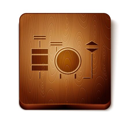 Brown Drums icon isolated on white background. Music sign. Musical instrument symbol. Wooden square button. Vector Illustration Illusztráció