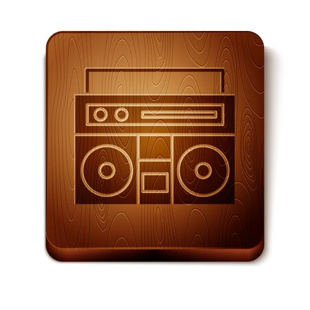Brown Home stereo with two speakers icon isolated on white background. Music system. Wooden square button. Vector Illustration